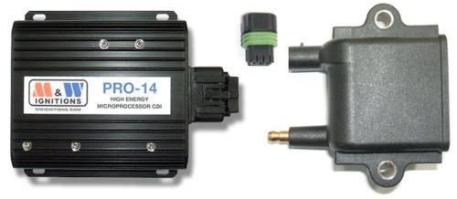 Elektronska nadzorna jedinica CDI sistema paljenja (levo) i bobina sa pripadajućim konektorom (M&W Ignitions)