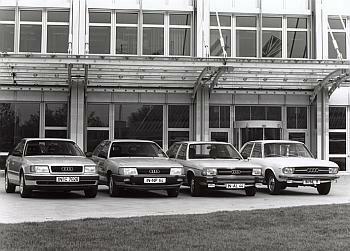 Četvrta generacija Audija 100, s desna: C1 (1968. - 1976.), C2 (1976. - 1984.), C3 (1982. – 1991.) i C4 (1991.-1994). Model C3 je postigao svetski rekord u aerodinamici za serijske limuzine (0,30), a C4 je 1994. preimenovan u prvi A6